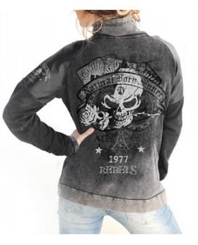 Veste rock noire et grise pour femme