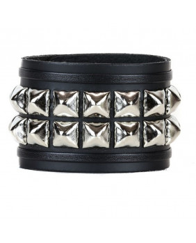 Bracelet cuir noir et studs argents
