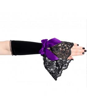 Mitaines gothiques noires noeud violet