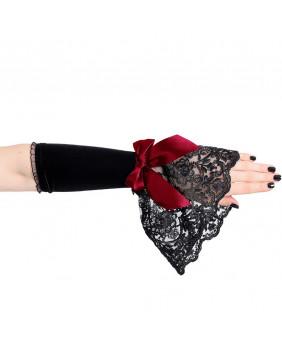 Mitaines gothiques noires noeud rouge