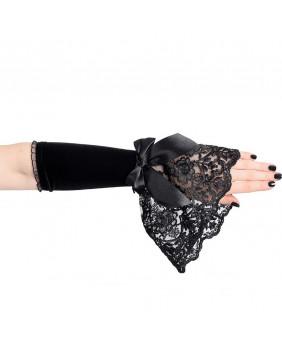 Mitaines gothiques noires noeud noir