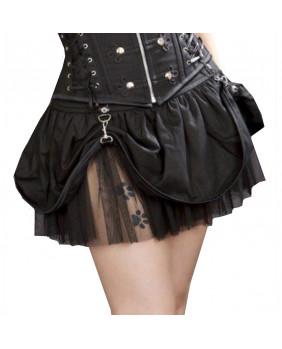 Jupe gothique punk noire Pirate