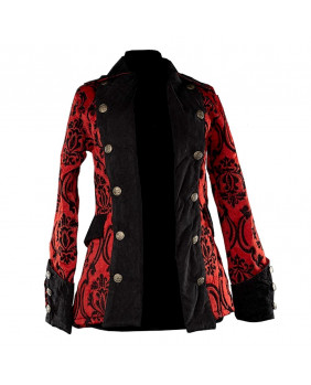 Veste victorienne pirate rouge brocard