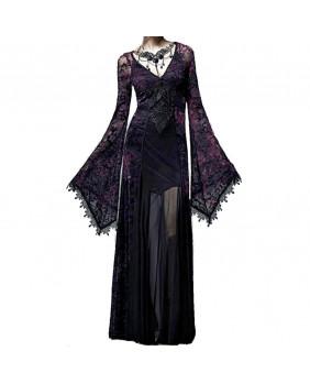 Robe longue gothique violette et noire