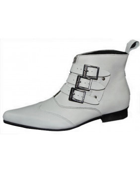 Bottes compensées Cyber gothic blanches SHAKER-65 Demonia