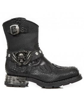 New Rock MOTOROCK M.MR041-S5 boots Bikers noires en cuir lisse et cuir imitation python