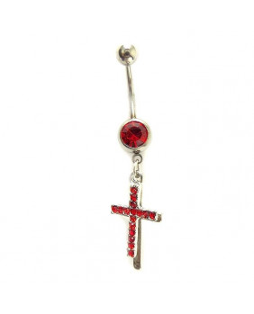 Piercing de nombril croix rouge