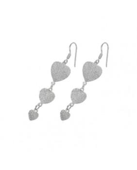 Boucles d'oreilles coeur en argent