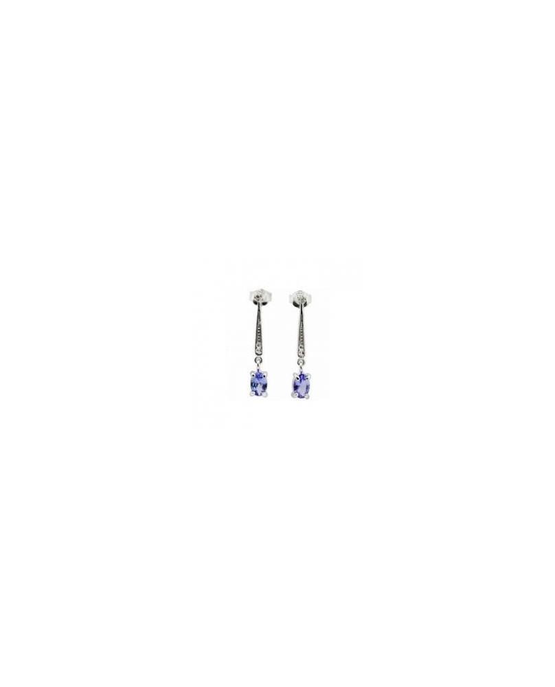 Boucles d'oreilles en argent et tanzanite bleue