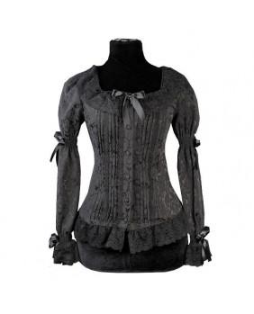 Chemisier noir gothic romantique lolita brocart