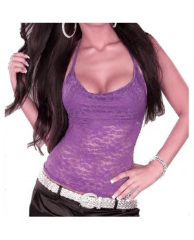 Top goth dentelle violette