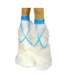 Leg warmers cyber gothique blanc / ruban bleu