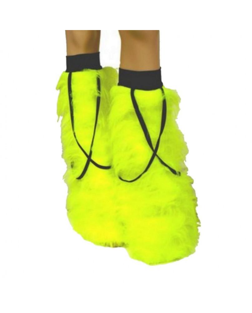 Leg warmers cyber gothique jaune / rubans noirs