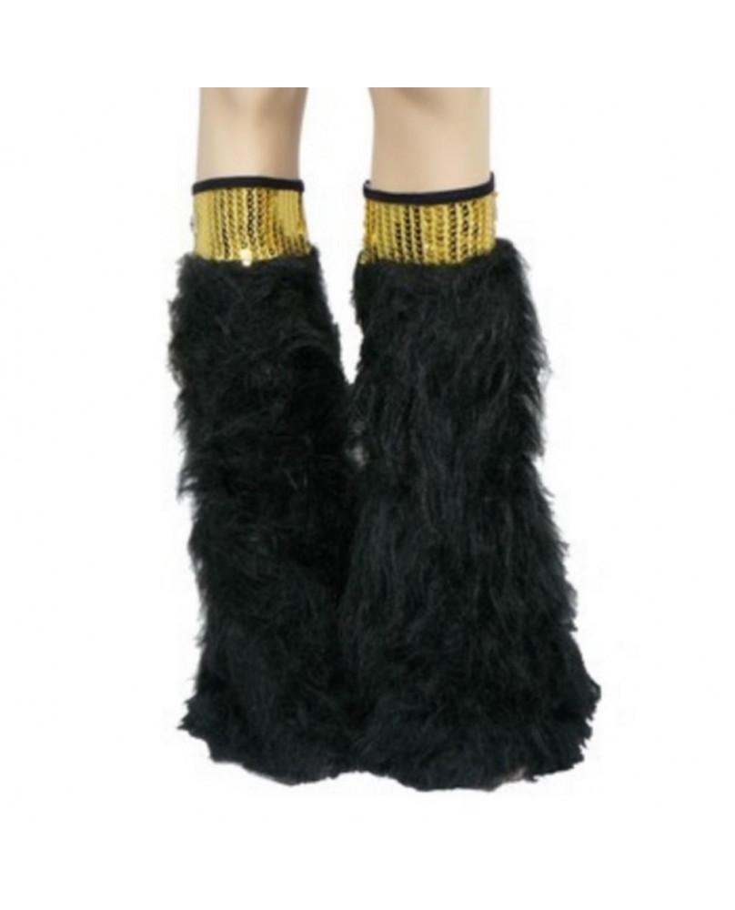 Leg warmers cyber gothique noir / doré