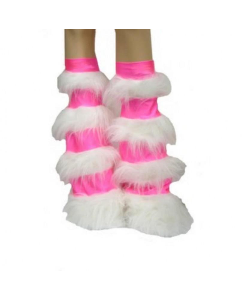 Leg warmers cyber gothique rose rayé blanc