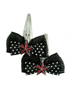 Barrette Black Red Star