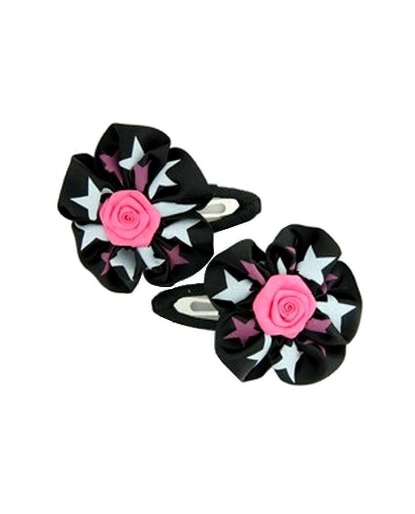 Barrette fleur noire et rose.