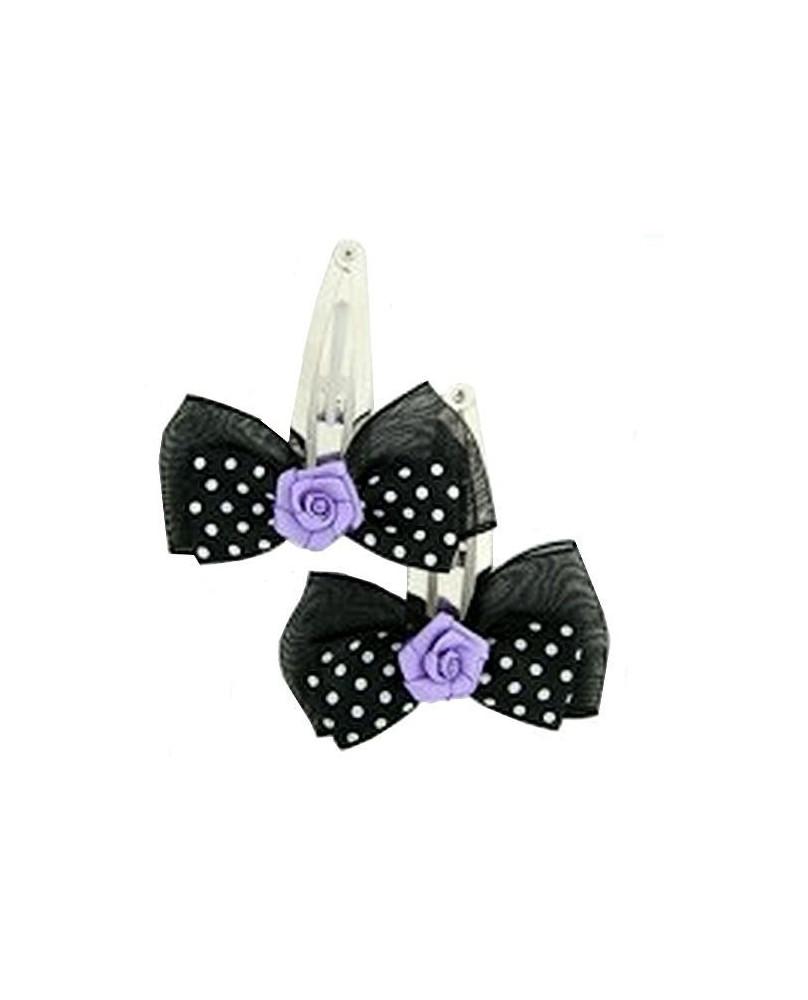 Barrette noire à pois blancs avec une rose violette