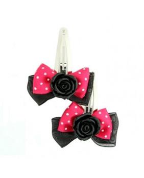 Barrettes romantiques roses noires