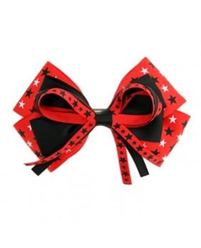 Noeud à cheveux noir et rouge avec étoiles