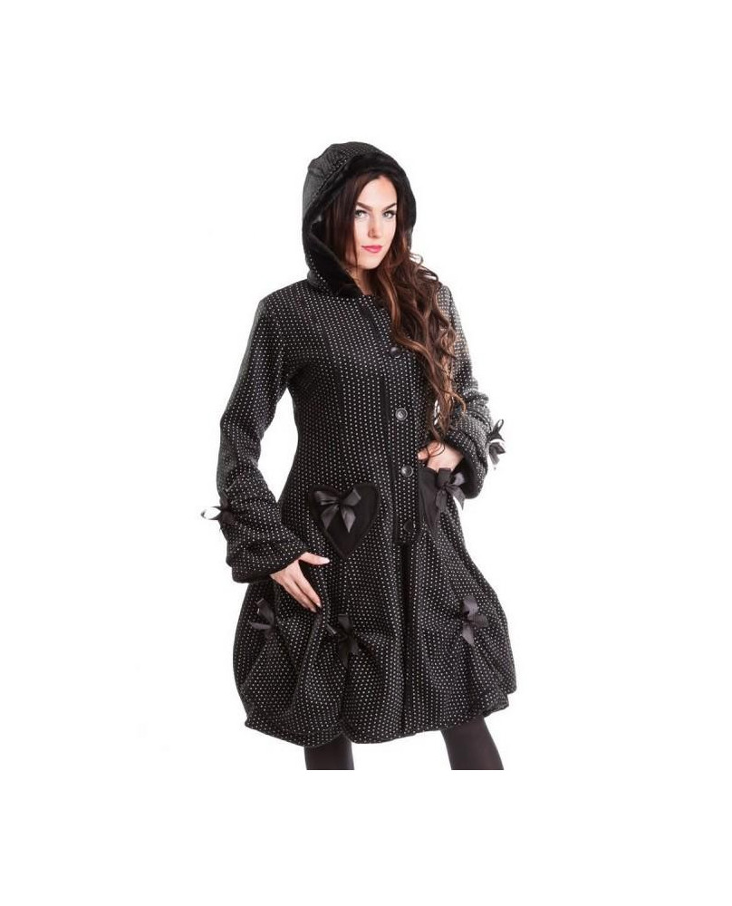 Manteau noir à pois blanc Alice