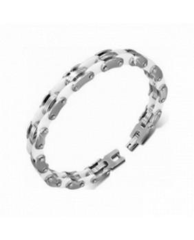 Bracelet coloris argent et blanc