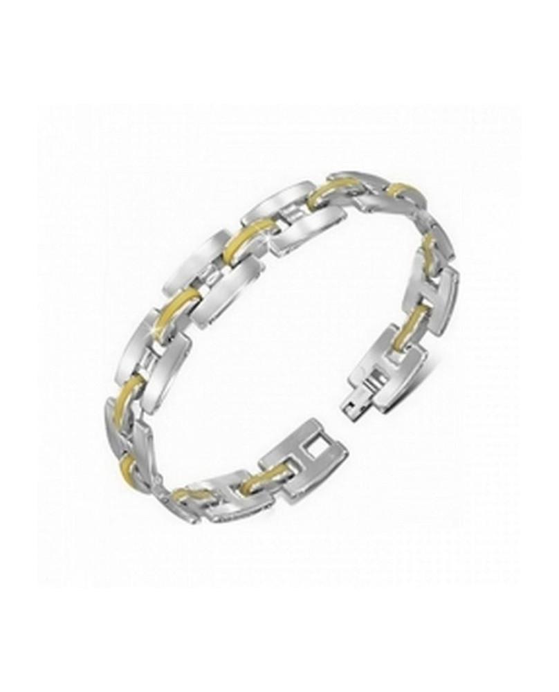 Bracelet coloris argent et jaune