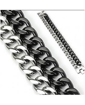 Bracelet duo coloris argent et noir