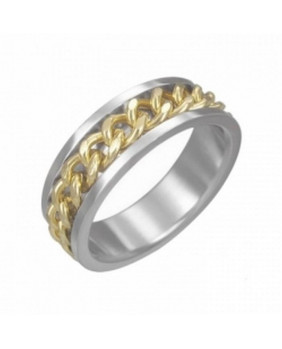 Bague chaîne dorée