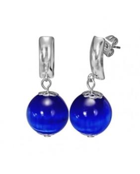 Boucles d'oreilles perle de verre bleue
