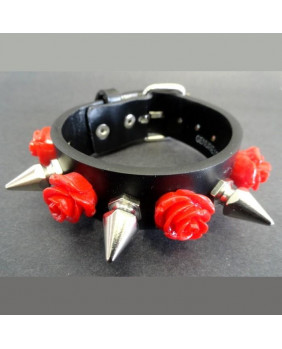 Bracelet cuir roses rouges