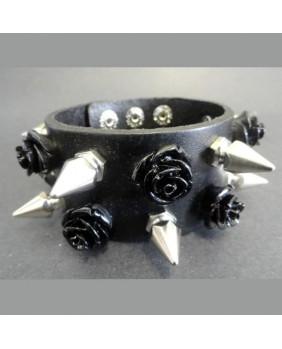 Bracelet double Skull and Black Roses