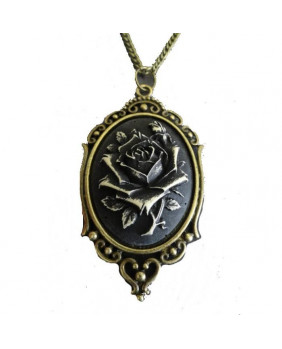 Collier camé steampunk rose