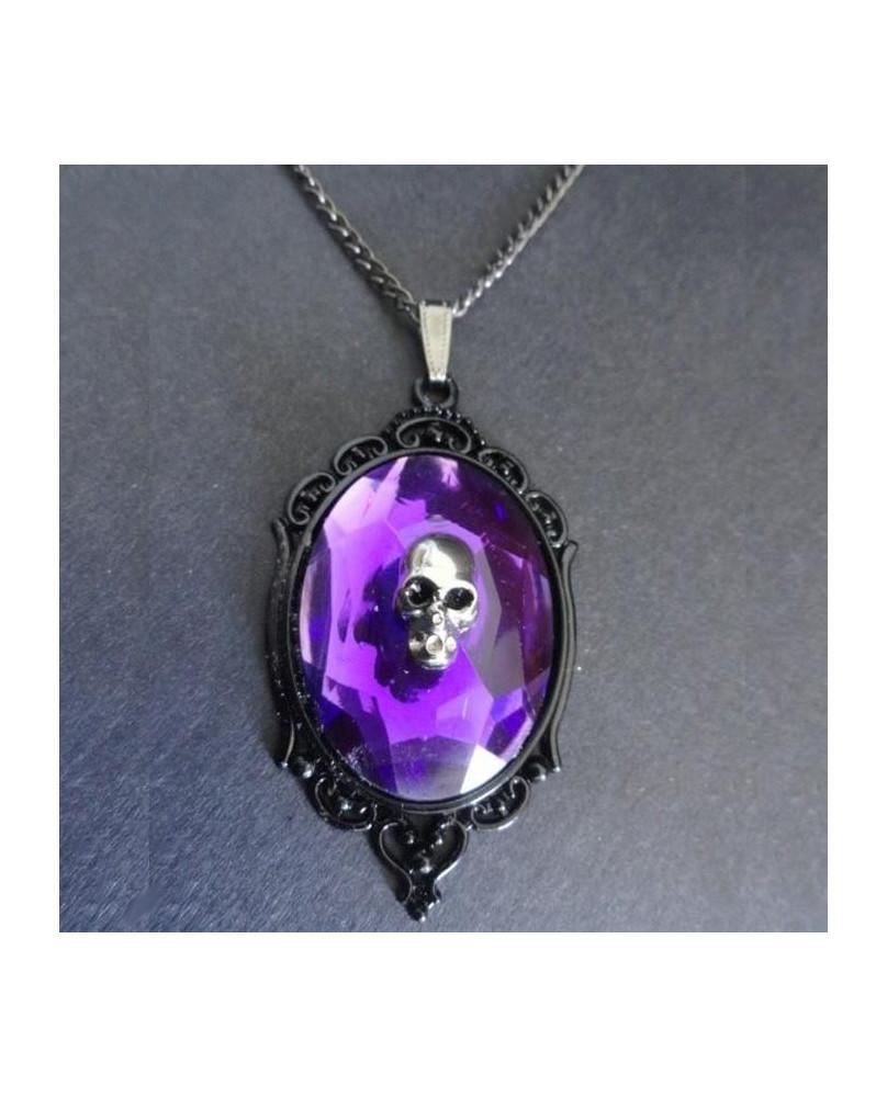Collier camé violet avec crâne