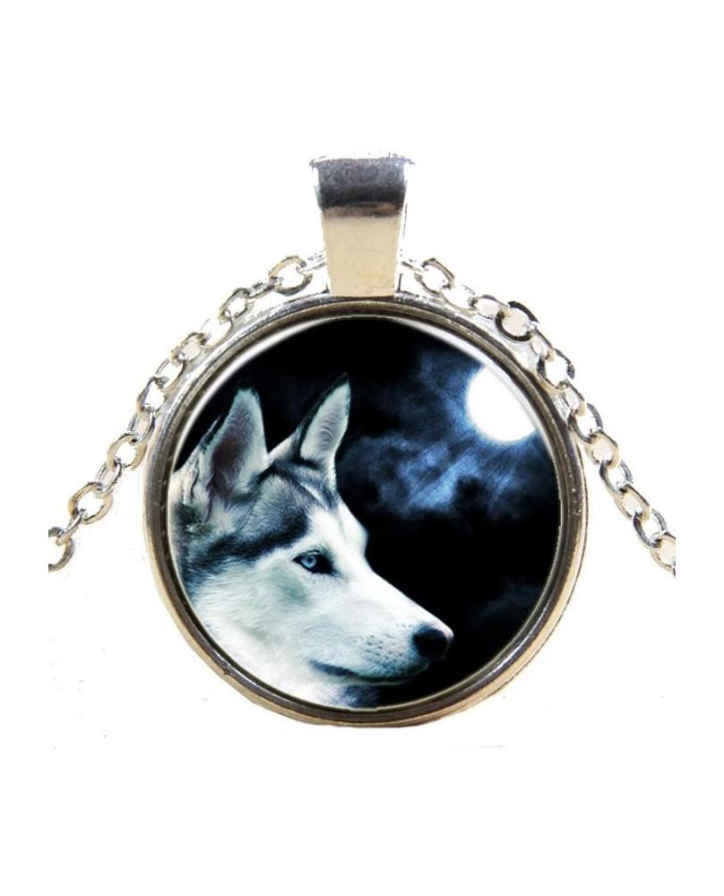 Collier gothique Loup blanc