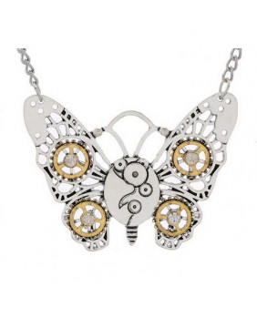 Collier papillon steampunk
