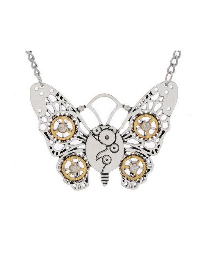 Collier papillon steampunk