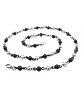 Collier perles stainless steel