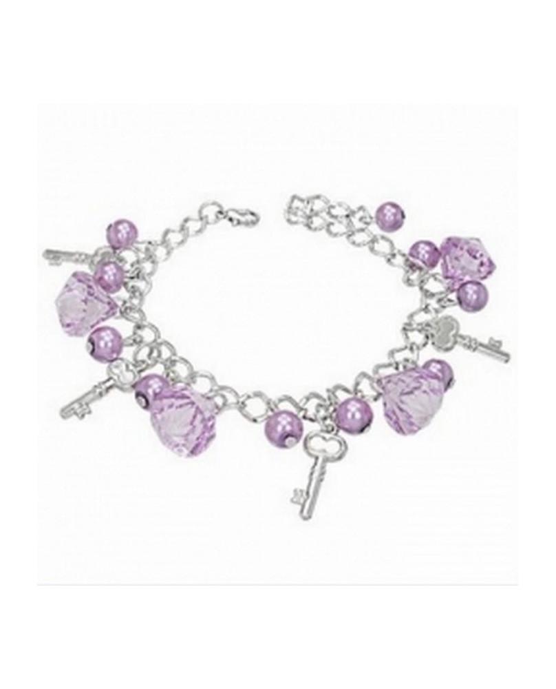 Bracelet fantaisie perles mauves