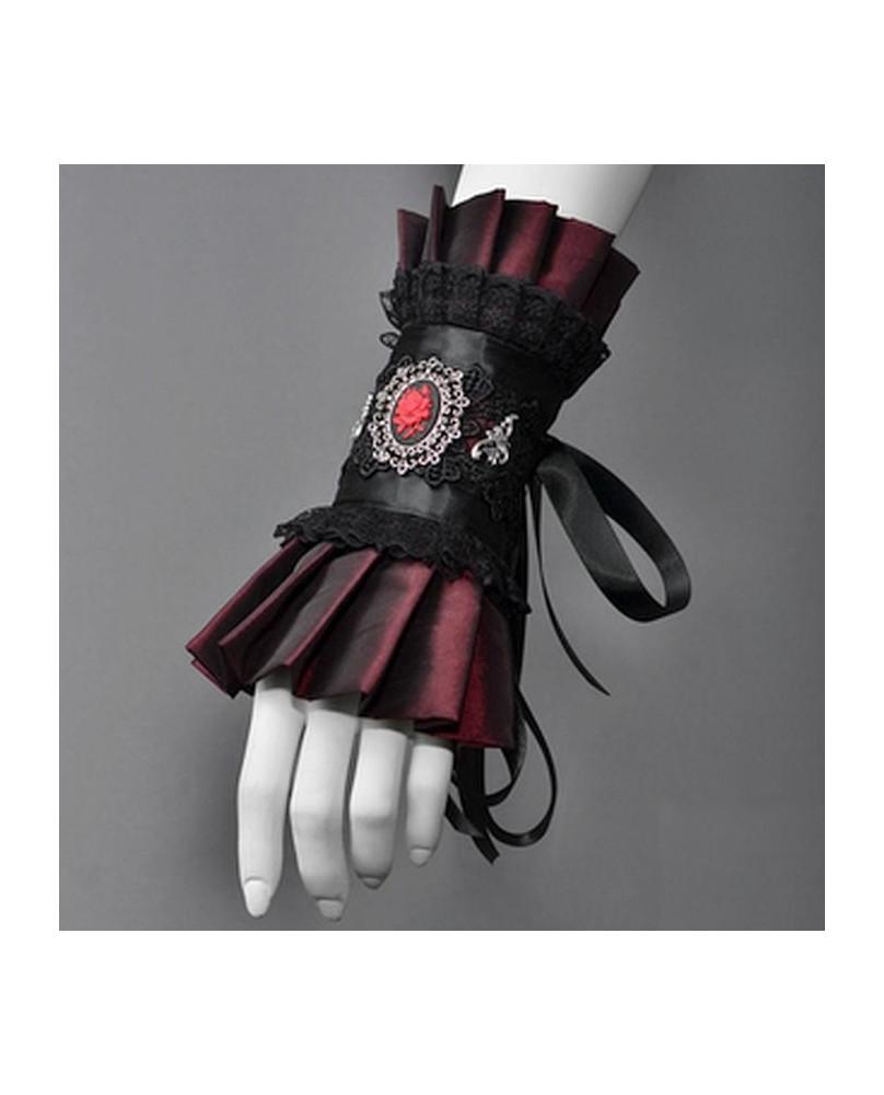 Bracelet gothique long bordeaux