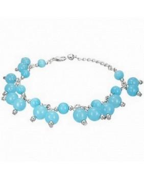 Bracelet perles en verre bleu
