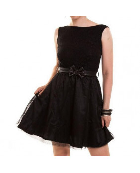 Robe noire avec ceinture Shine