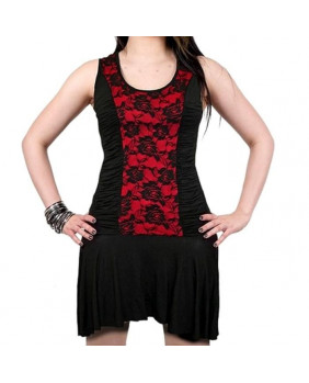 Robe dentelle rouge et noire