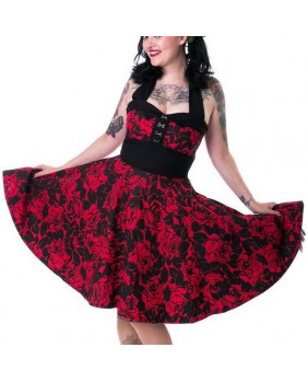 Robe fleurie noir et rouge Rose Valley