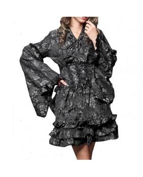 Robe kimono brocard argenté