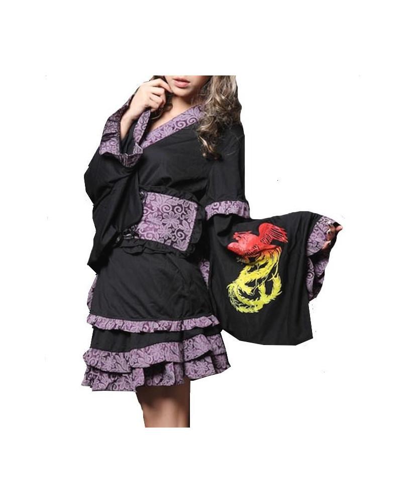 Robe kimono violet Dragon