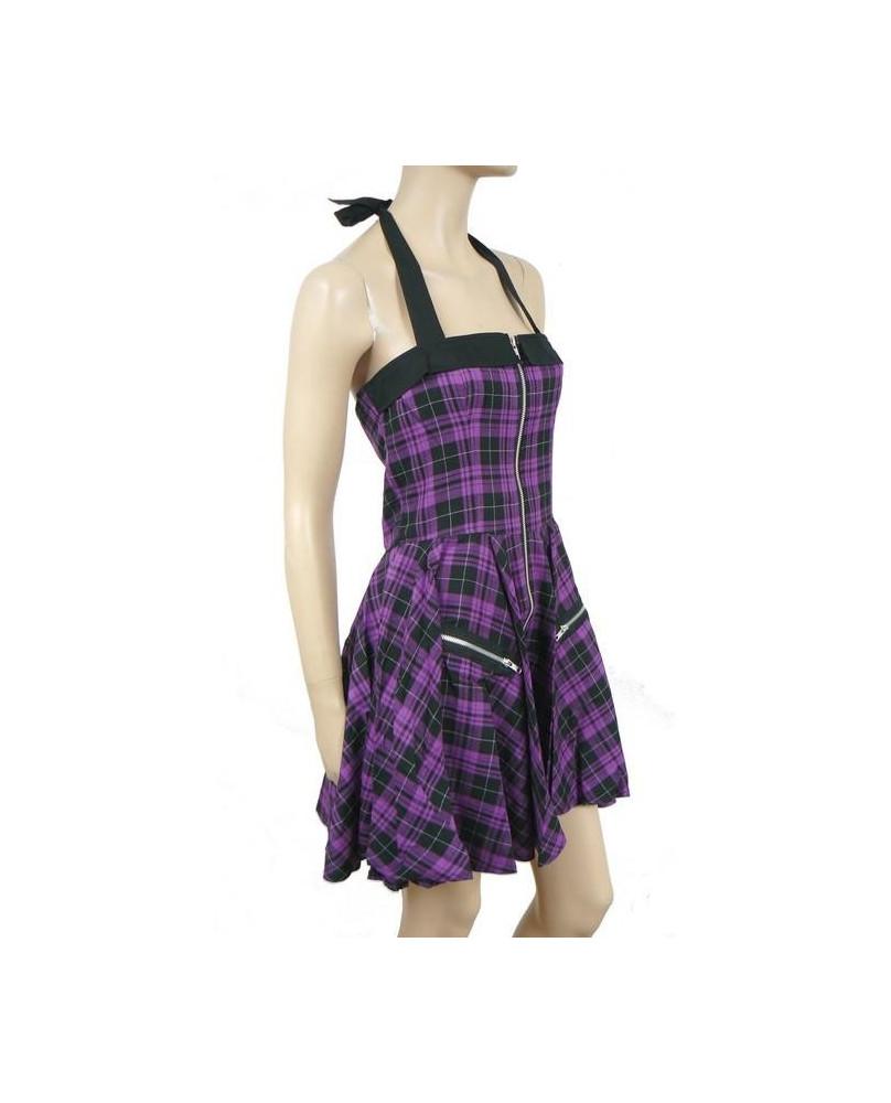 Robe punk écossaise violette