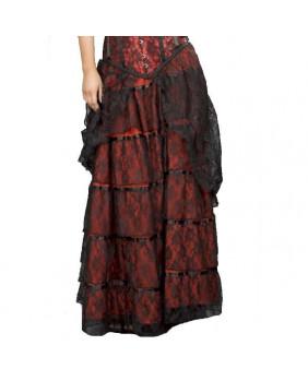 Jupe longue coton rouge