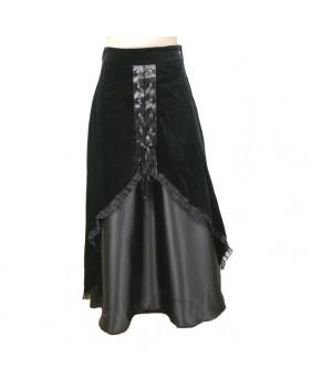 Jupe gothique velours / satin noir