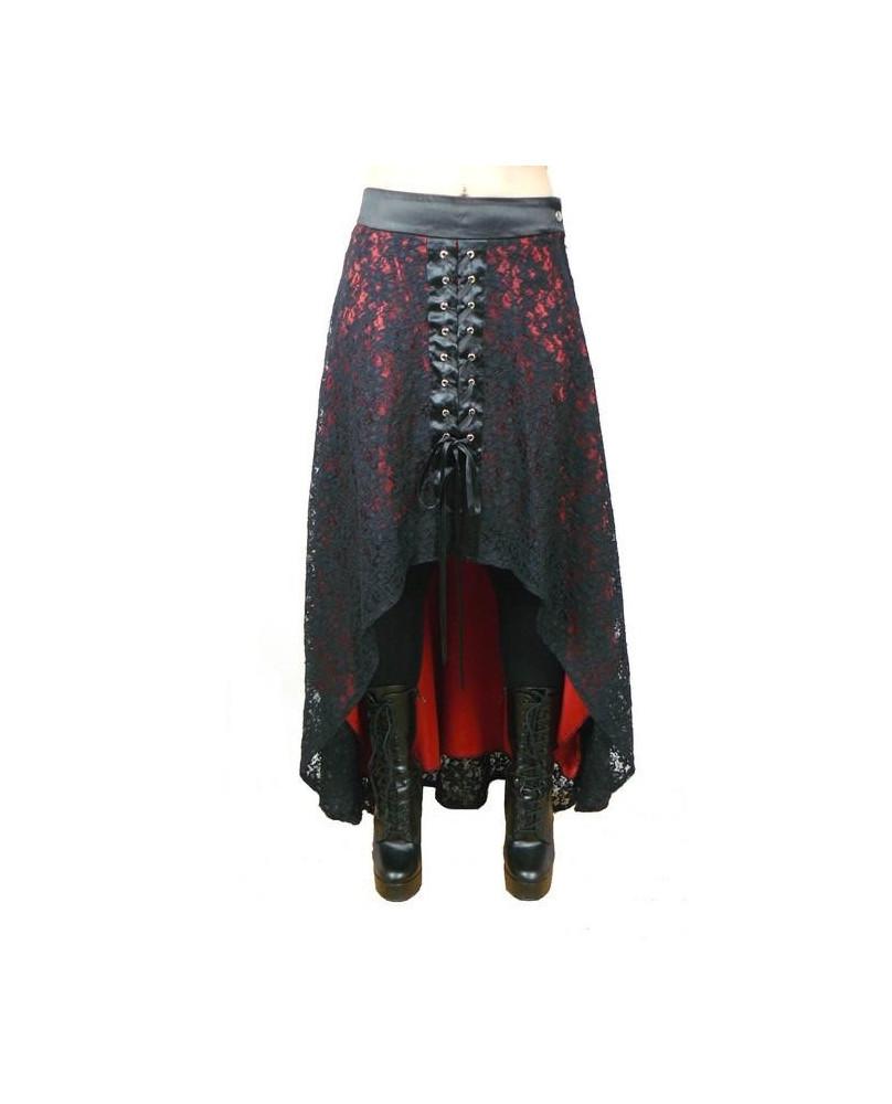 Jupe goth dentelle noire / satin rouge